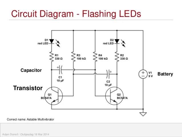 Flashing Eye Robot  Teaching Electronic Circuits