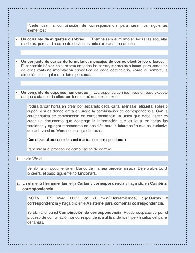 Combinacin De Correspondencia De Word