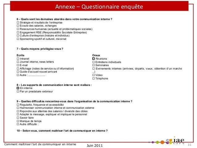Modele Questionnaire Communication Interne Document Online