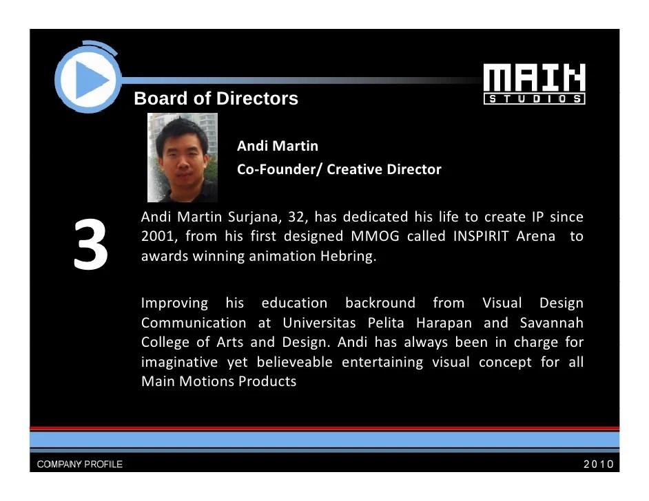 Main Studios Company Profile