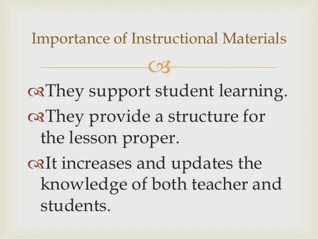 Completing The Learning Experience Instructional Materials