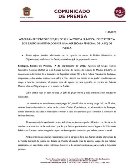 1187/2020 ASEGURAN ELEMENTOS DE FGJEM, DE SS Y LA POLICÍA MUNICIPAL DE ECATEPEC A DOS SUJETOS INVESTIGADOS POR UNA AGRESIÓ...