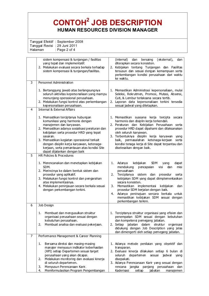 Contoh Job Description Hrd Terbaru - Gontoh