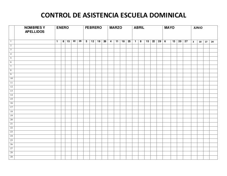 Control De Asistencia Escuela Dominical
