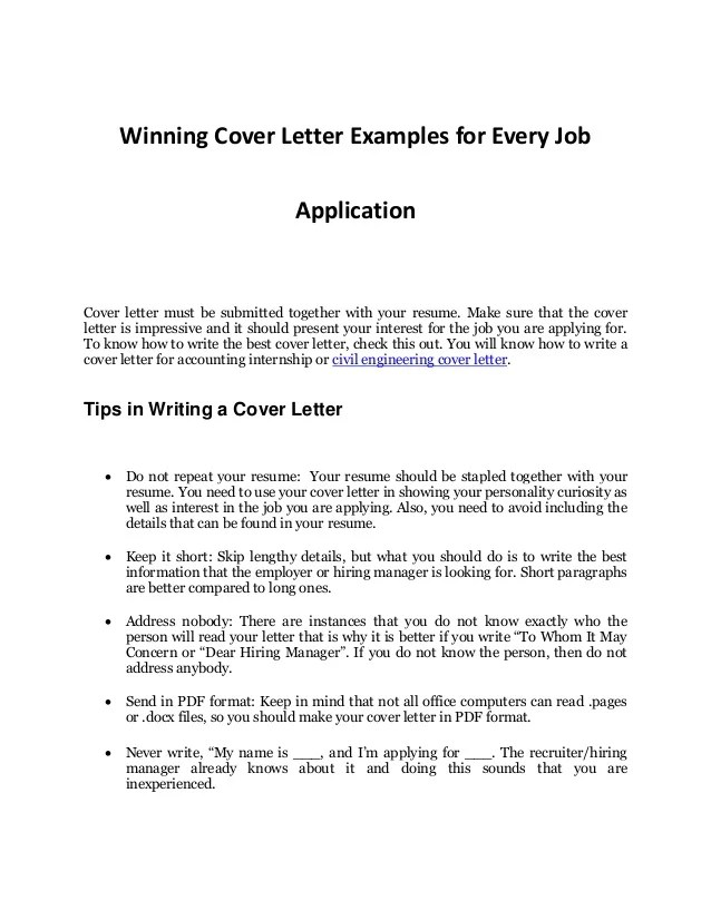 Every Job Application S Sample Cover Letter That Works