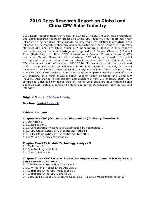 CPV Solar Industry