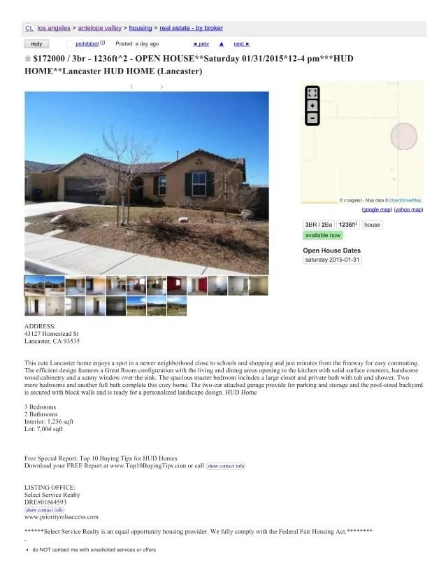 Craigslist Antelope Valley Cars >> Craigslist Example Advertising Hud Open House Craigslist