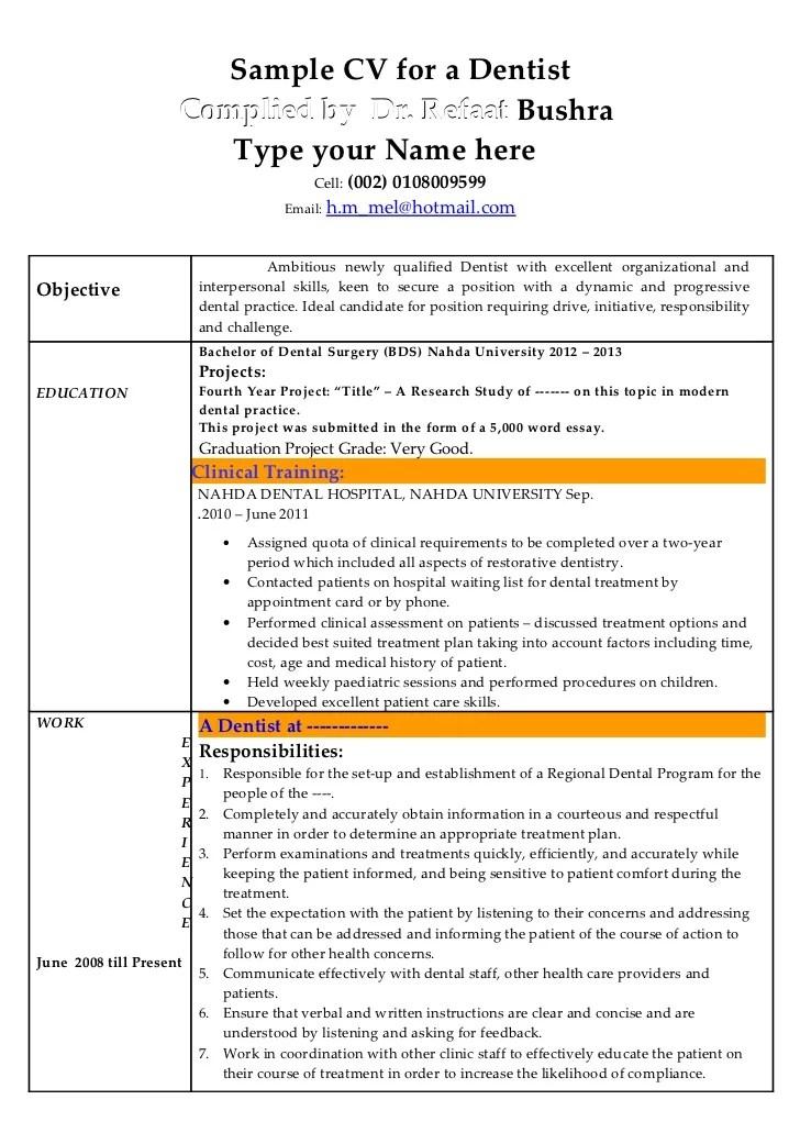 Dentist Resume Examples