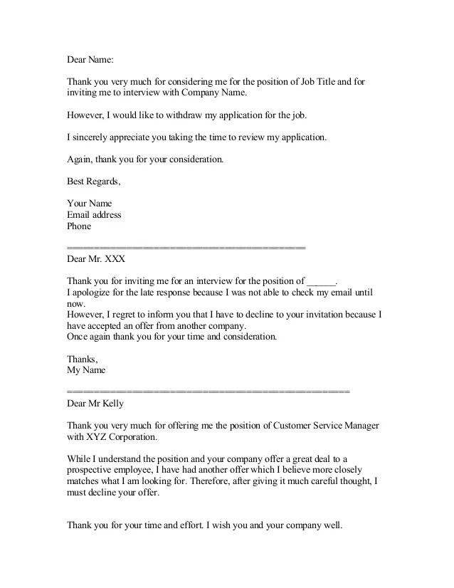 Sample job decline letter burge. Bjgmc-tb. Org.