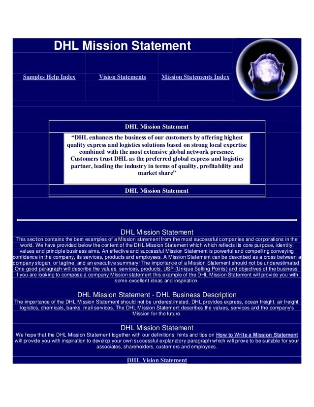Dhl mission statement