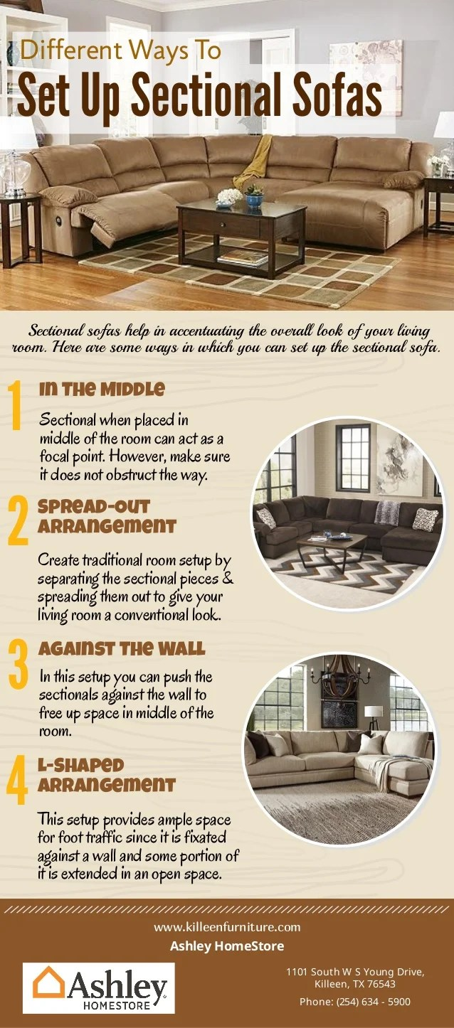 different ways to set up sectional sofas