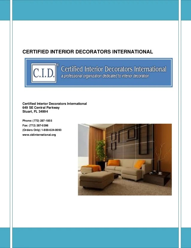 Certified interior decorators international exam www for Certified interior designer