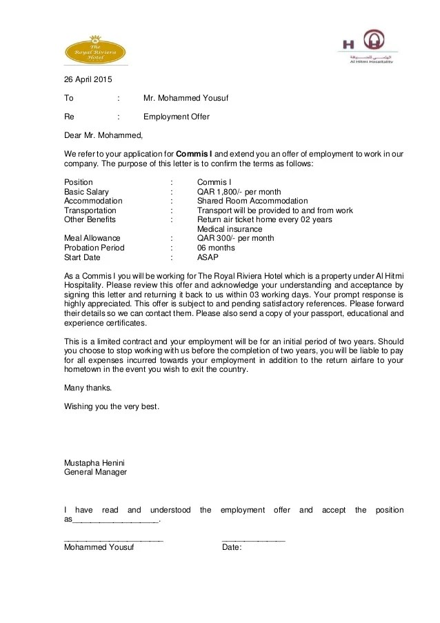 Appointment Letter Doc Format Iefw Employee Appointment Letter