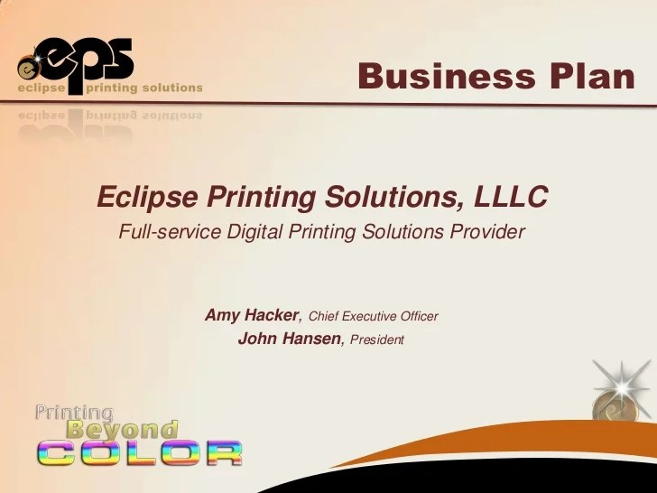 Eclipse Printing Business Plan