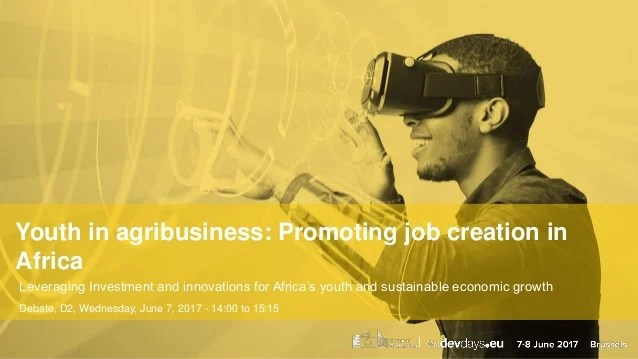 Youth in agribusiness: Promoting job creation in Africa Leveraging Investment and innovations for Africa's youth and susta...