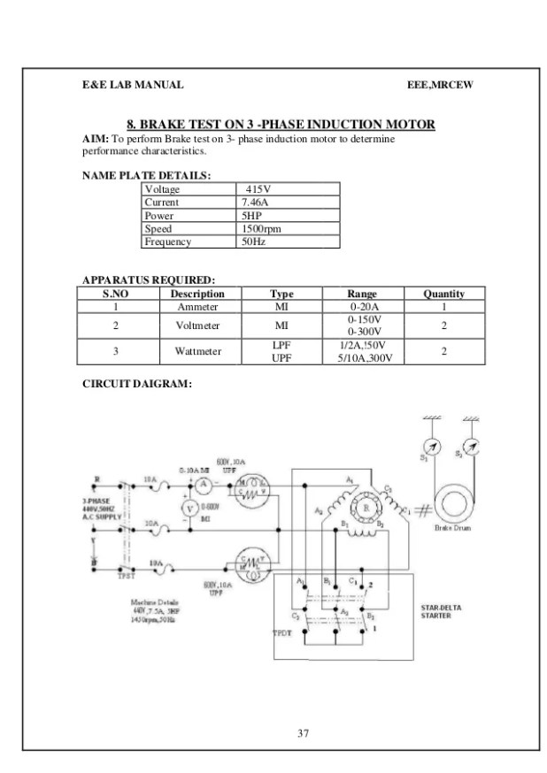 Brake test on three phase squirrel cage induction motor theory circuit diagram of load test on 3 phase induction motor swarovskicordoba Gallery