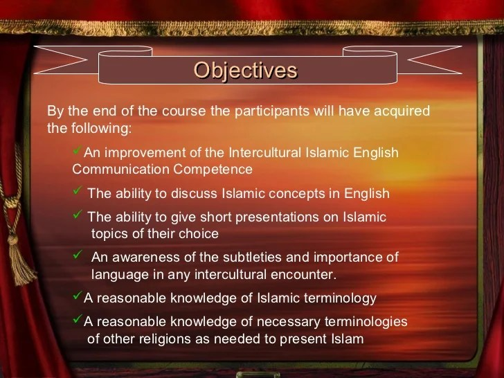 Effective islamic english communication skills qatar 1  Outlines Schedule Requirement Duration Course Material  6  ObjectivesBy the  end of