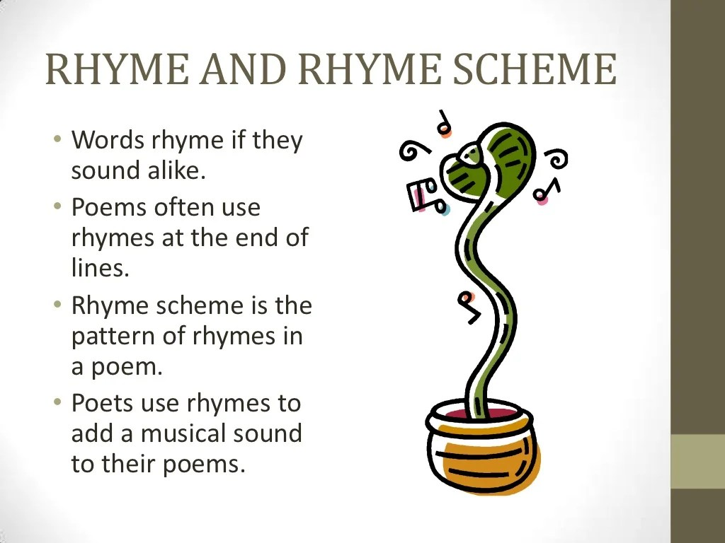 Rhyme And Rhyme Scheme Words