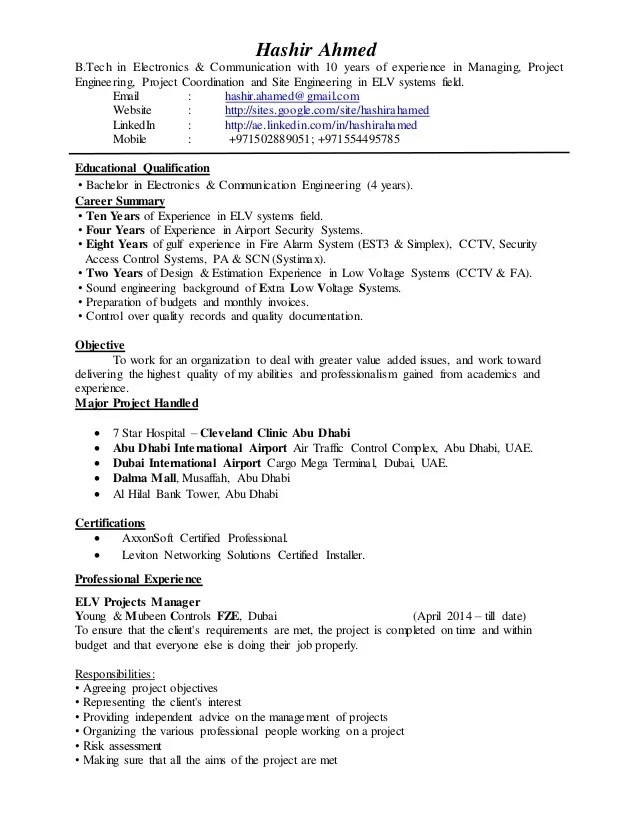 ELV Project Manager CV