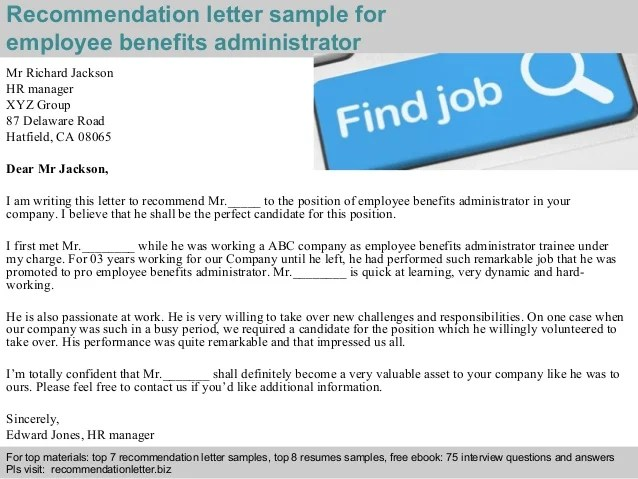 Employee Benefits Administrator Recommendation Letter