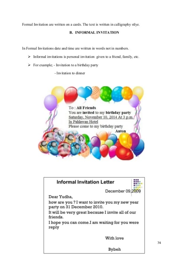 contoh formal invitation letter birthday party view invite