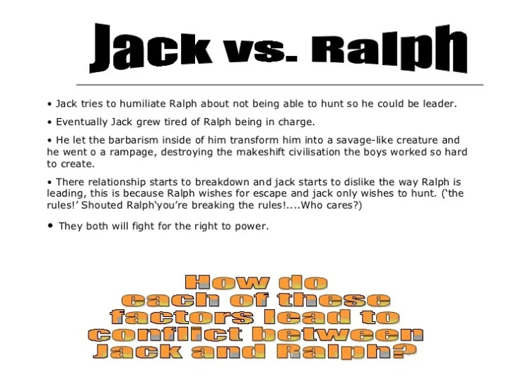 ralph vs jack essay Lord of the flies: democracy vs dictatorship  clearly, golding supports ralph because under jack's leadership, all of these savage acts occur.