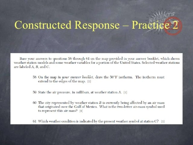 Earth Science Review Constructed Response     Practice 2