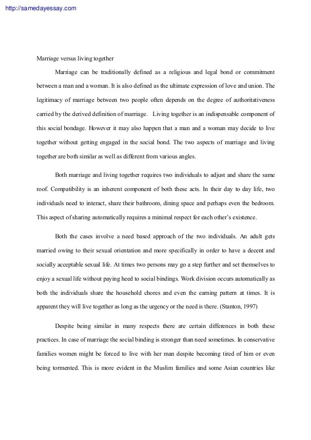 argumentative essay about love before marriage