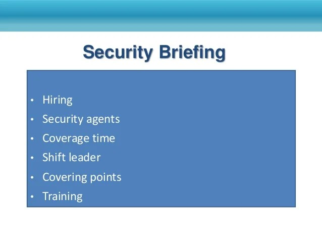 Security Event Briefing