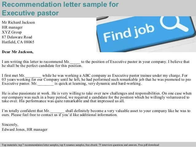 Pastor Recommendation Letter Sample For Job | mamiihondenk org