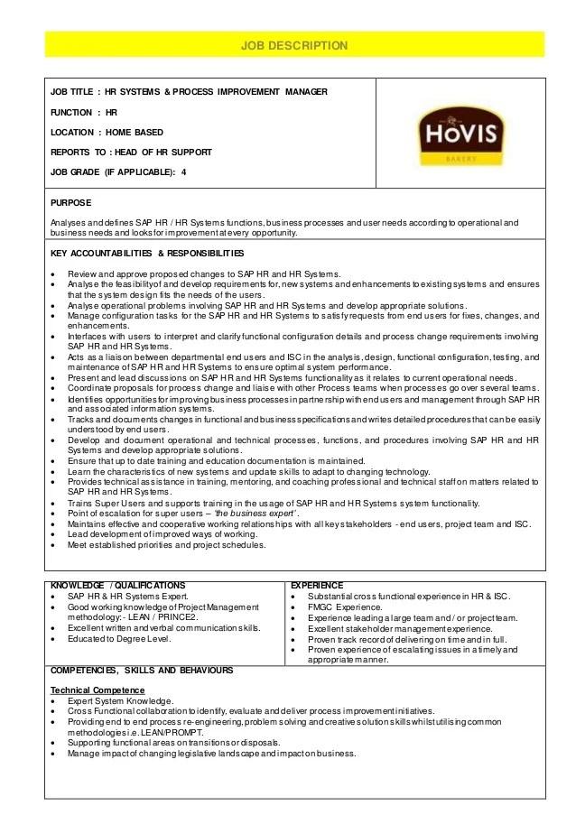 HR Systems & Process Improvement Manager - Job Description ...