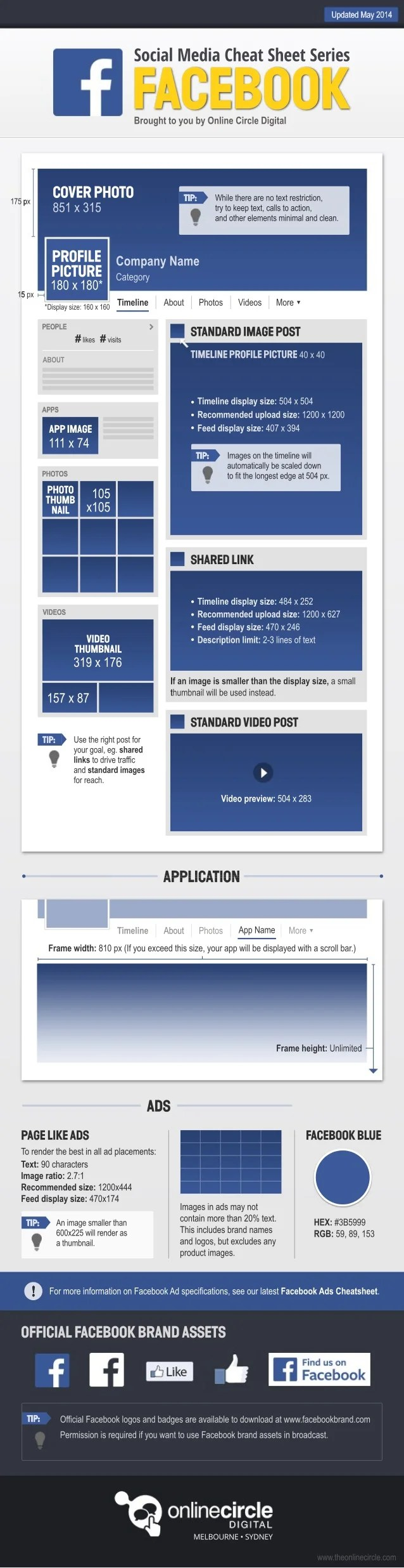 Facebook 2014 - Sizes and Dimensions Cheat sheet