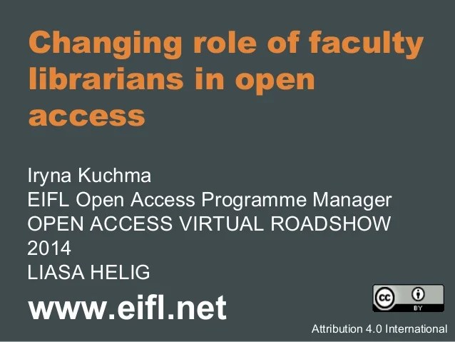 Changing role of faculty librarians in open access
