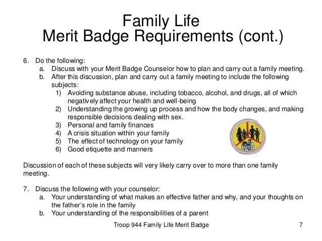 Family Life Merit Badge Worksheet – Best Life 2017