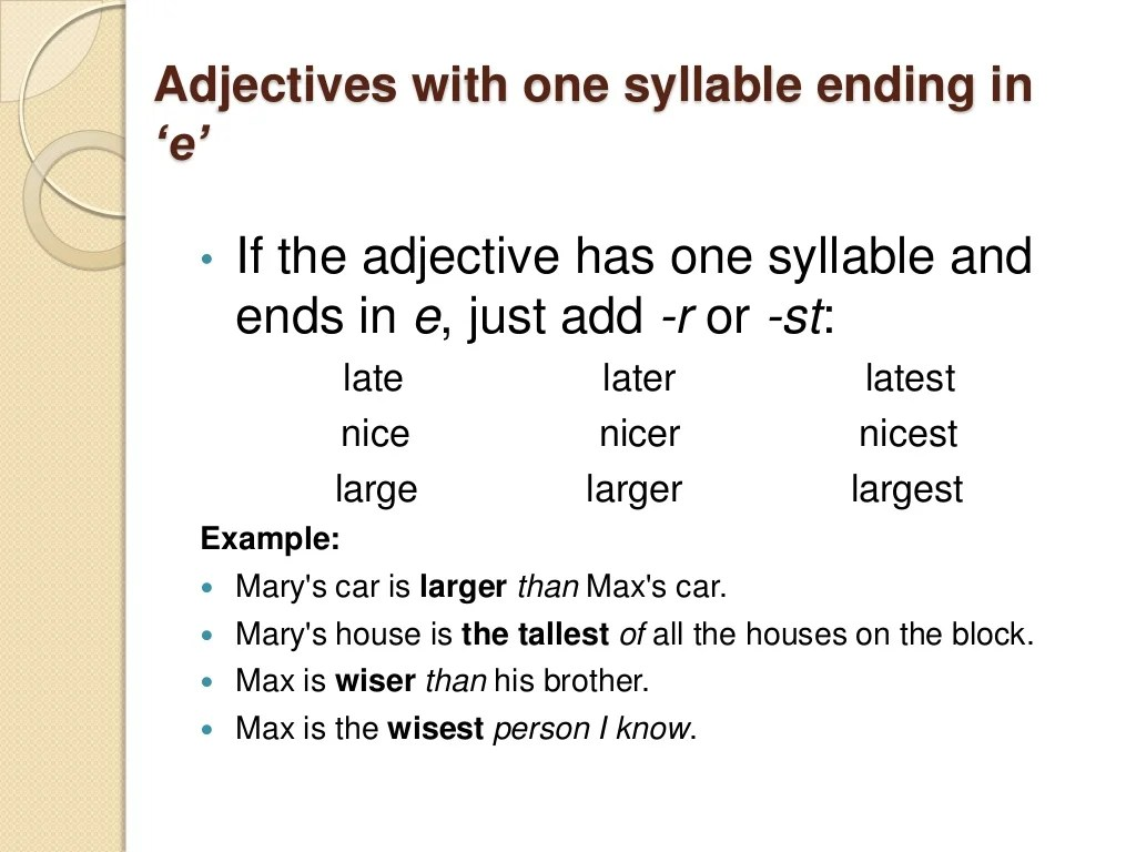 Comparative And Superlative Degrees Of Adjective