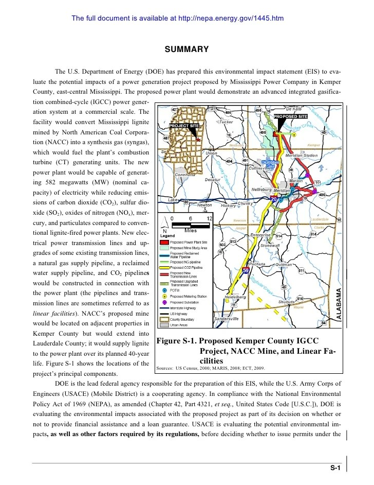 Final EIS Summary - Kemper County IGCC Project