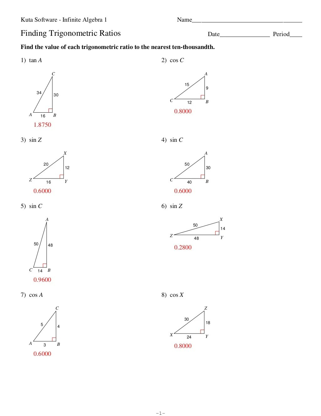 Introduction To Trig Worksheet Answers Pictures