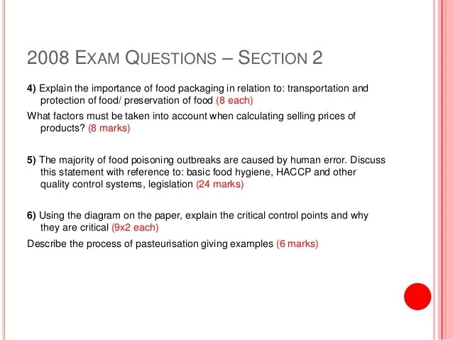 Food Technology  Exam Questions