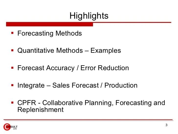 Quantitative Forecasting Methods Examples