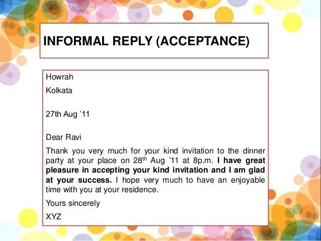 what is formal invitation give example