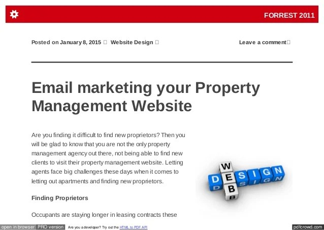 The spreadsheet lists rental income and expenses so that you can quickly view which properties are most profitable. Email Marketing Your Property Management Website