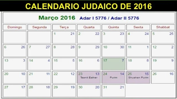 CALENDARIO JUDAICO DE 2016