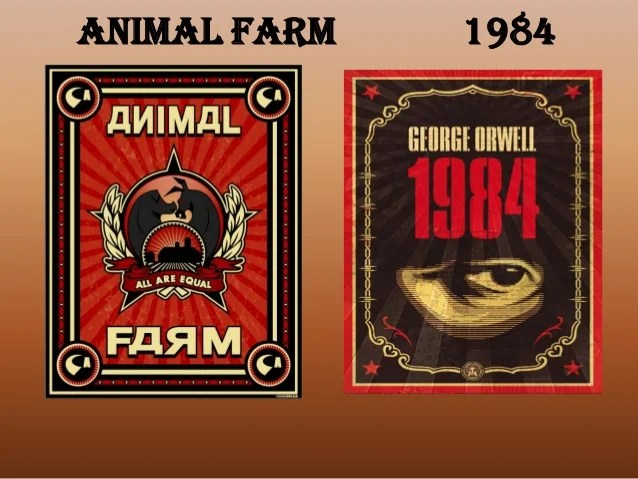 Image result for Photos of the book 1984 and Animal FArm