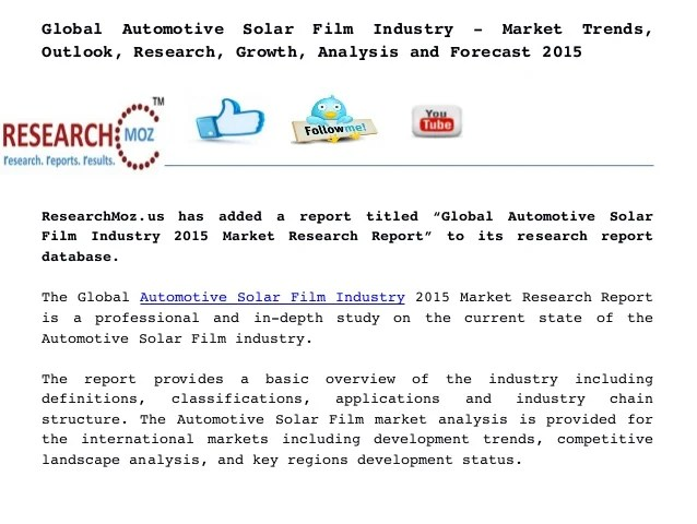 Global Automotive Solar Film Industry - Market Trends ...