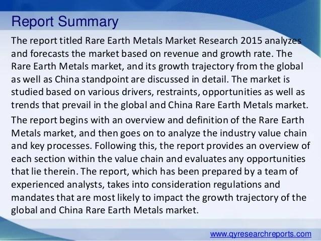 Global rare earth metals market 2015 industry trends ...