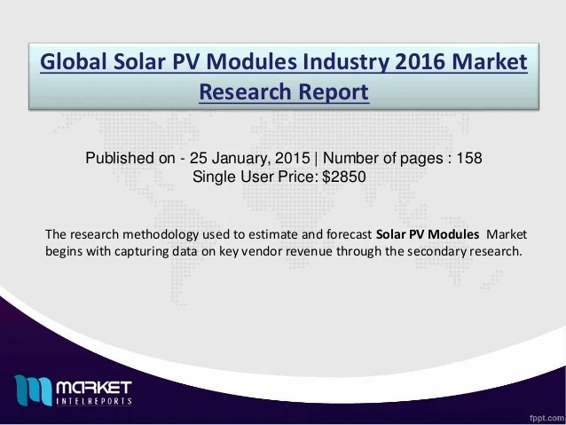 Global solar pv modules industry 2016 market research report