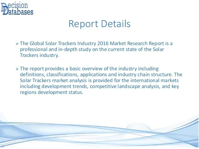 Global Solar Trackers Industry 2016 Market Research Report