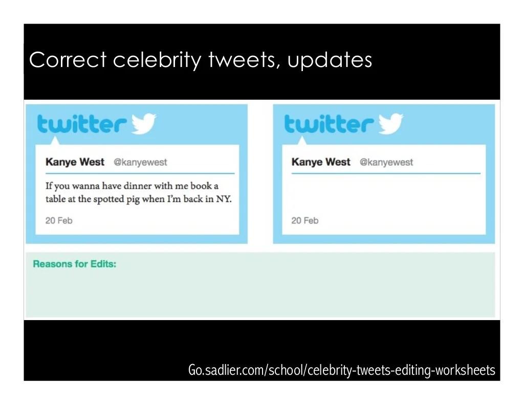 Go Sadlier School Celebrity Tweets Editing Worksheets