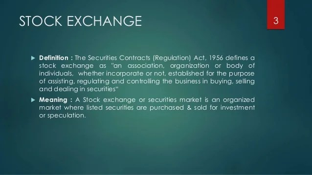 Securities Market Meaning