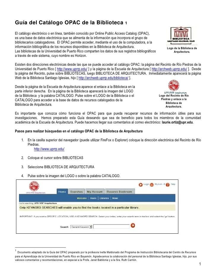 Guia básica para el uso del OPAC (Online Public Access ...